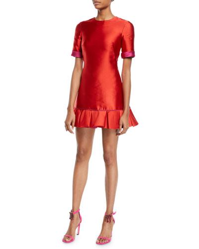 Short-Sleeve Double-Face Satin Ruffle-Hem Mini Cocktail Dress