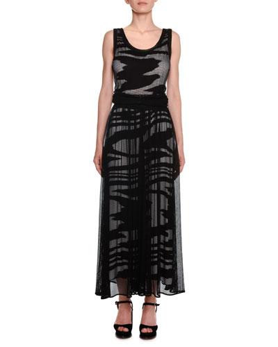 Scoop-Neck Sleeveless Space-Dye Mesh Long Dress