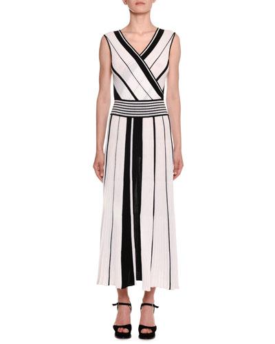 Crossover V-Neck Sleeveless Striped A-Line Dress