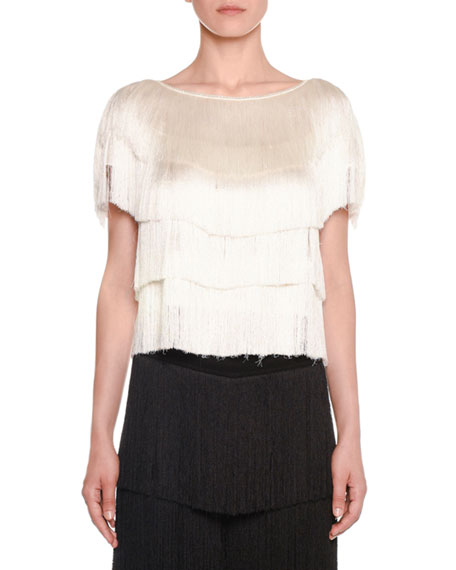 Missoni SHORT-SLEEVE ALLOVER TIERED FRINGE CROPPED TOP