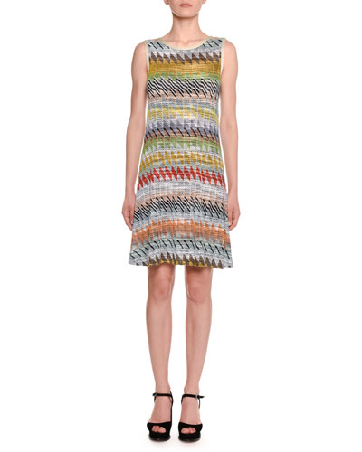 Crewneck Sleeveless Multi-Stripe Knit A-Line Dress