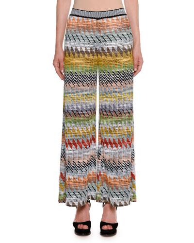Rhombus Multi-Stripe Wide-Leg Crop Pants