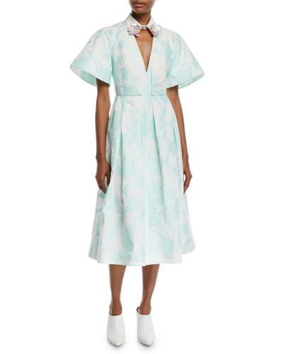 Embellished-Collar V-Neck Short-Sleeve Floral-Print A-Line Mid-Calf Dress