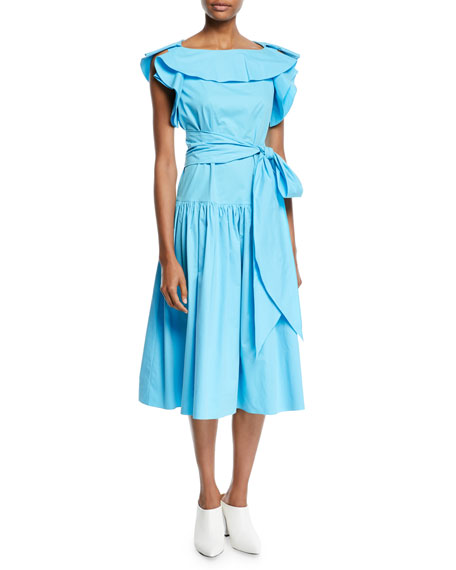DELPOZO BOAT-NECK CAP-SLEEVE BELTED A-LINE MID-CALF DRESS