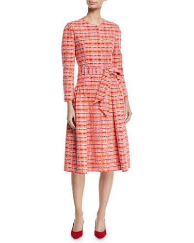 Long-Sleeve Self-Belt Gathered Tweed Coat