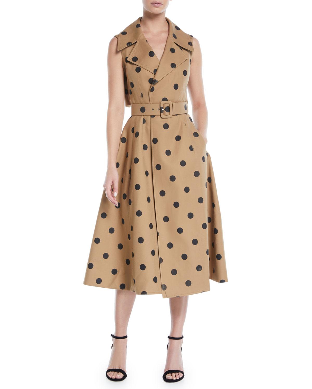 Sleeveless Polka Dot Twill Tea Length Dress W Wide Belt
