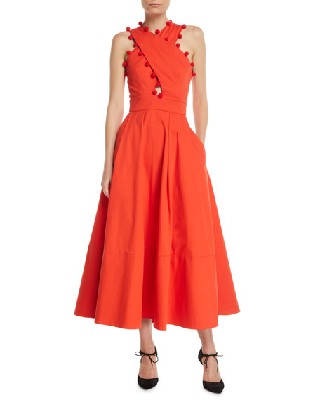 Oscar De La Renta SLEEVELESS CRISSCROSS HALTER-NECK TWIST-BACK LONG COTTON DRESS