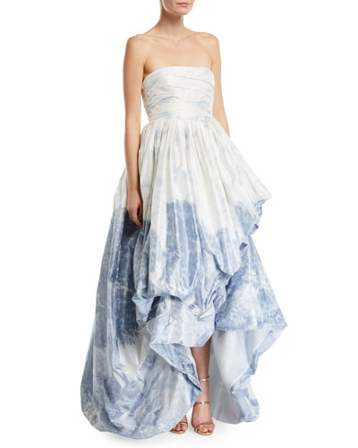 Printed Strapless High-Low Gown