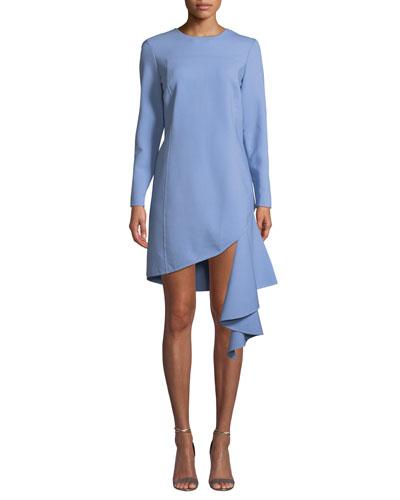 Long-Sleeve Jewel Neck Cascading-Hem Dress