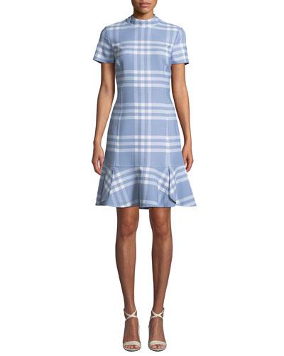 Short-Sleeve Wool-Blend Plaid Shift Dress w/ Flounce