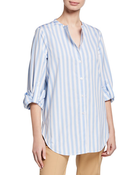Oscar De La Renta STRIPED JEWEL-NECK BUTTON-FRONT FRENCH-CUFF BLOUSE
