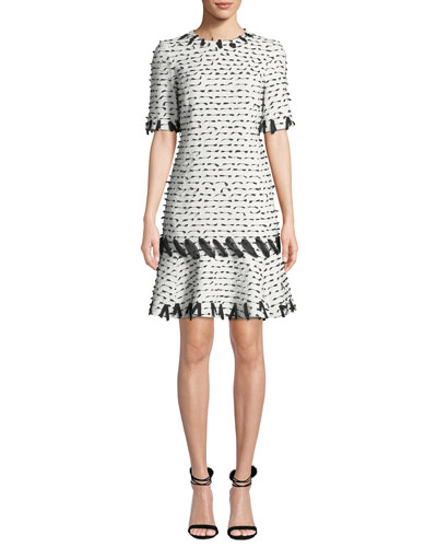Jewel-Neck Short-Sleeve Ribbon-Trim Dress