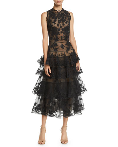 Sleeveless Floral-Embroidered Tiered Tulle Evening Gown w/ Open Back