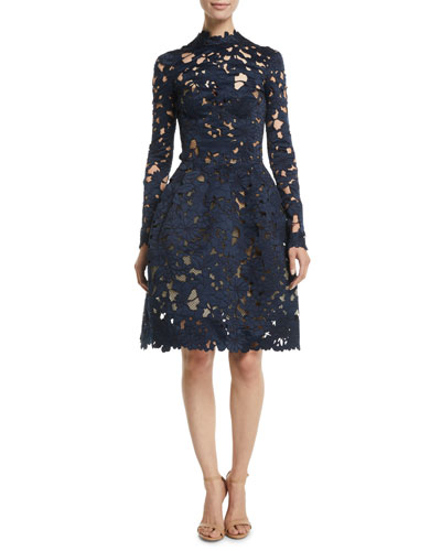 Long-Sleeve Floral-Guipure Fit-and-Flare Cocktail Dress