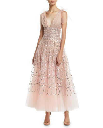 Sleeveless V-Neck Sequin-Loop Embroidered Tulle Tea-Length Cocktail Dress