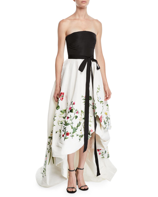 Oscar de la Renta Strapless Ribbon-Belt Botanical-Embroidered High ...