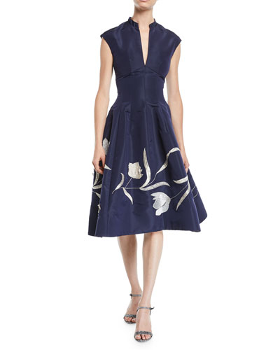 Split-Neck Cap-Sleeve Tulip-Embroidered Silk Faille Dress w/ Pockets