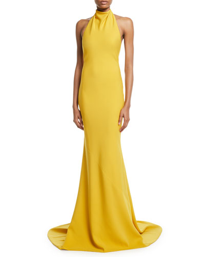 Sleeveless Halter-Neck Ruffled-Back Gown