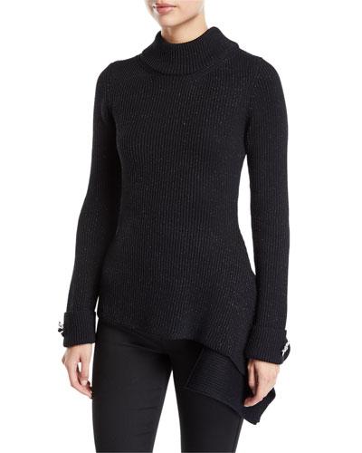 Mock Neck Floral-Cuff Asymmetric Sweater