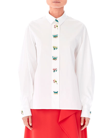 Animal-Buttons Collared Cotton Shirt in White