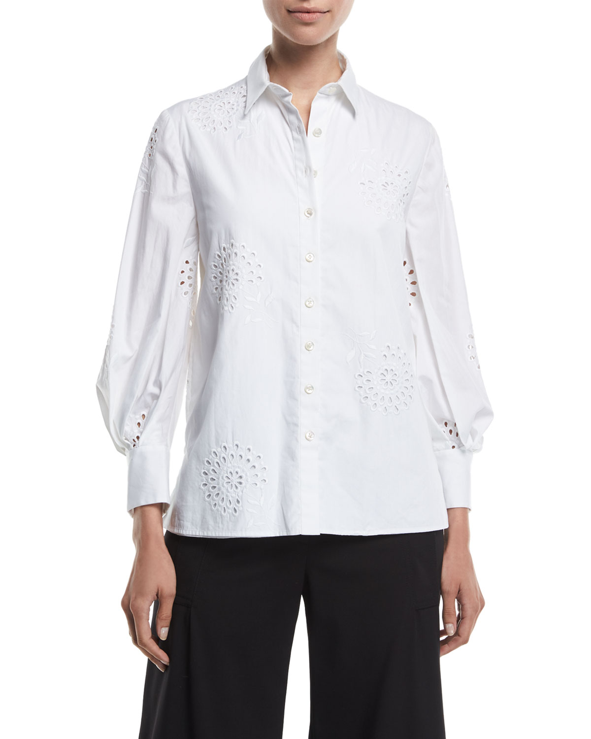 032b2a0b Carolina Herrera Eyelet Embroidered Poplin Button-Front Shirt ...