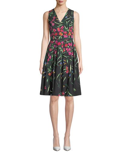 Carolina Herrera Sleeveless V Neck Fl Pleated Dress