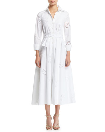 Carolina Herrera 3 4 Sleeve Eyelet Embroidered Midi Shirtdress