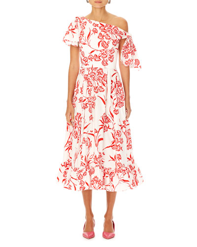 Asymmetric Floral-Print Cotton Dress w/ Knot Detail