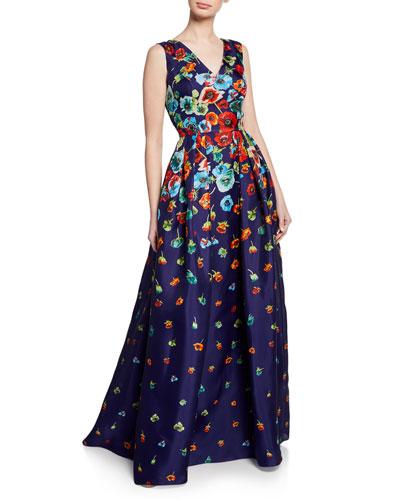 Carolina Herrera Fl Print V Neck Sleeveless Gown