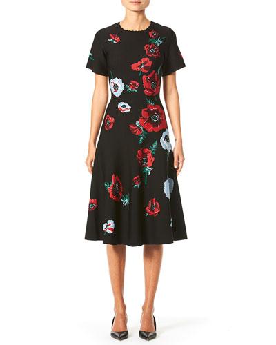 Short-Sleeve Poppy-Print Knit Dress