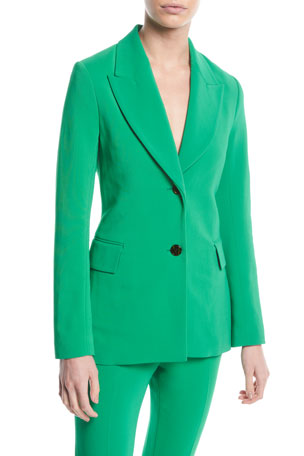 Rosetta Getty Peak-Lapel Two-Button Stretch-Cady Jacket