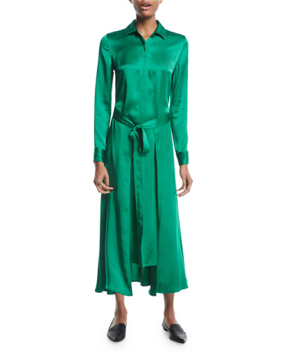 Long Apron-Wrap Long-Sleeve Button-Front Crepe Back Satin Shirtdress