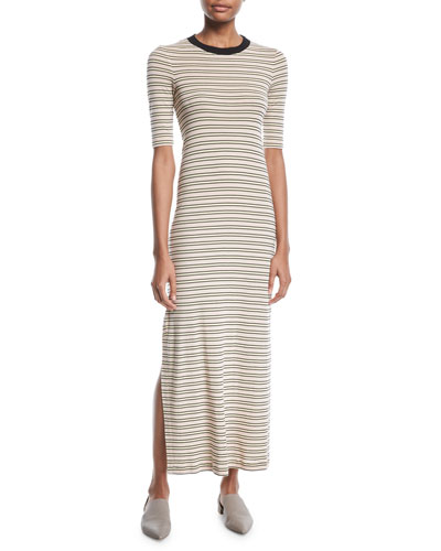 Crewneck Short-Sleeve Striped Maxi T-Shirt Dress