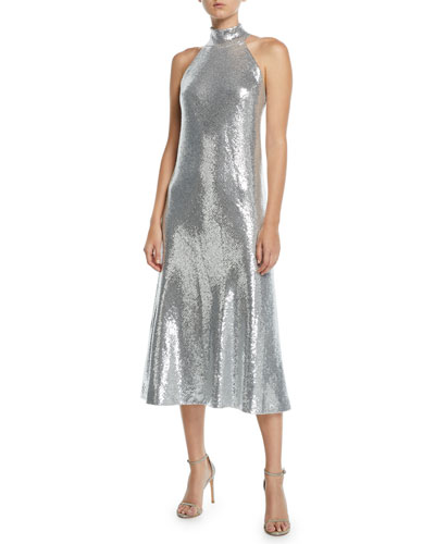 Daniela Halter Scarf-Neck Sequined Midi Dress