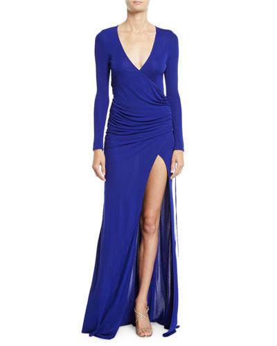 Allegra Long-Sleeve V-Neck Slit-Leg Gown