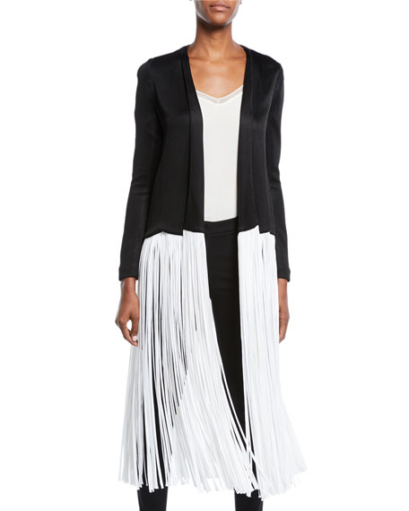 Galvan HIGH-SHINE JERSEY PIANO-FRINGE DUSTER JACKET