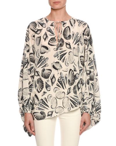 Cabinet of Shells Print Silk Cocoon Tunic