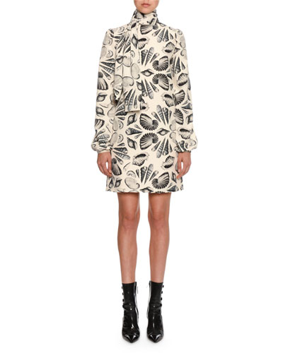 Long-Sleeve Tie-Neck Shell Print Mini Dress