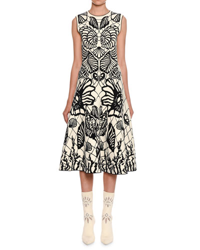 Sleeveless Shell-Jacquard Midi Dress