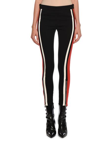 Alexander McQueen Mid-Rise Racer-Striped Stretch-Wool Leggings