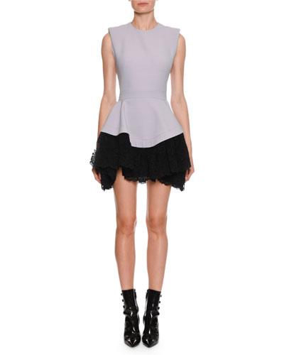 Sleeveless Drop-Waist Contrast Lace Mini Dress