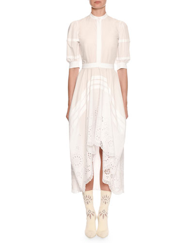 Puff Short-Sleeve Broderie Anglaise Cotton Midi Dress