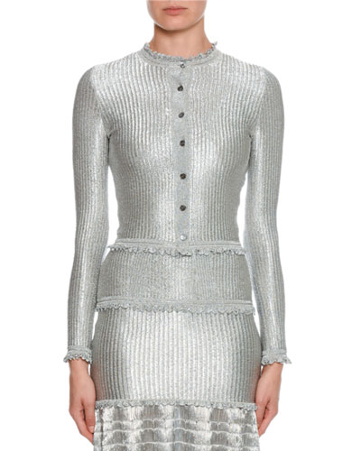 Silvertone Ribbed Button-Front Cardigan