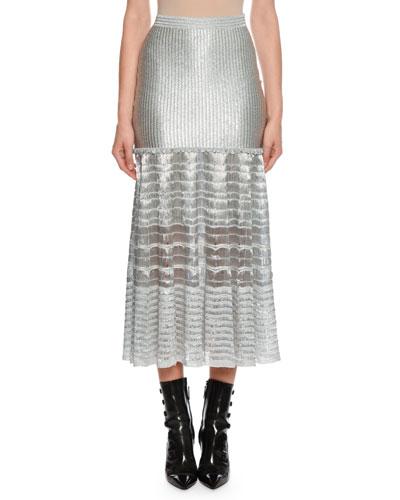 Drop-Waist Silvertone Ribbed Midi Skirt