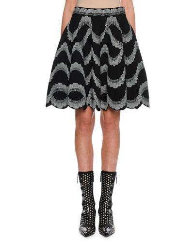 Victorian-Bead Jacquard Flare Skirt