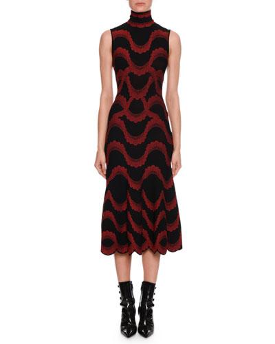Turtleneck Sleeveless Victorian Beaded-Jacquard Body-con Midi Dress