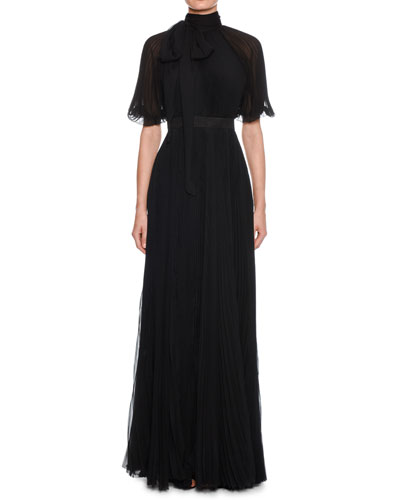 Short-Sleeve Tie-Neck Open-Back Plisse Pleated Silk Evening Gown