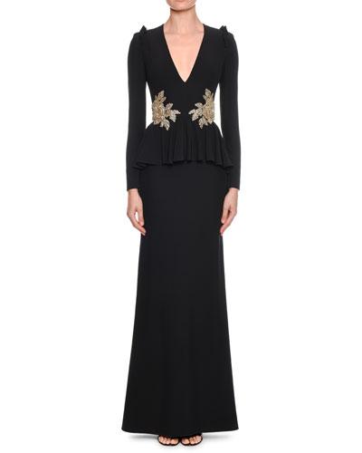 V-Neck Long-Sleeve Peplum-Waist Trumpet Evening Gown w/ Floral-Embellishment