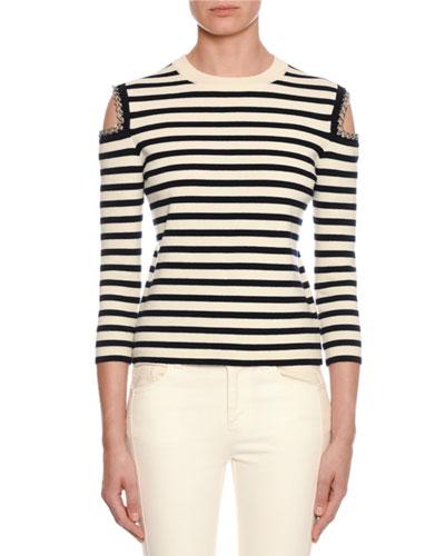 Striped-Knit Chain-Trim Cold-Shoulder Sweater