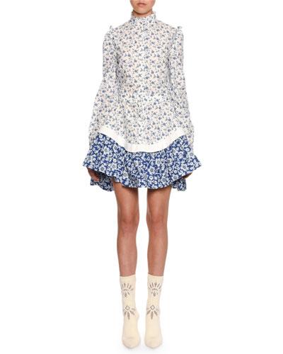 Victorian Floral Peplum Mini Dress
